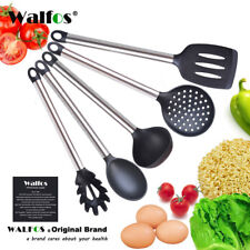 Silicone & Stainless Steel Cooking Utensil Set Kitchen Ladle Slotted Pasta Spoon