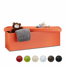 Folding Ottoman Bench Storage Space Faux Leather Seat, Pouf Footstool Box Chair