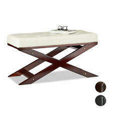 Wooden Bench with Padding, Faux Leather, Backless, Wood, 2-Seater, Indoor Seat