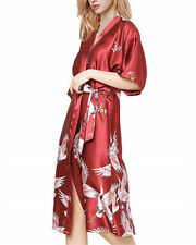 Womens Faux Silk Satin Dressing Gown Bridal Wedding Party Bridesmaid Sleepwear