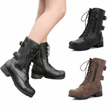 Ladies Womens Military Boots Army Combat Ankle Lace Up Zip Low Heels Biker Shoes