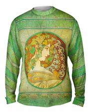 "Yizzam- Alphonse Mucha - ""Laurel"" (1901) - New Mens Long Sleeve Tee Shirt XS S"