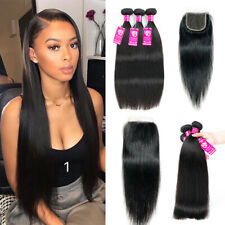 3 Bundles Straight/Body wave With Closure 100% Unprocessed Brazilian Human Hair