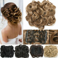 LARGE THICK Curly Scrunchie Combs Messy Bun Updo Clip in Hair Piece Extensions