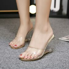 Summer Open Toe Transparent Mules Slipper Heel Shoes Womens Wedge Sandals Gifts