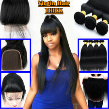 4Bundles 400G 100% Virgin Human Hair With Lace Closure Free Part Black 8-24inch