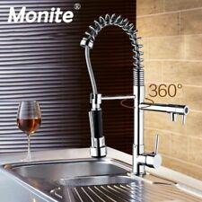 Faucet Pull Out Kitchen Tap Chrome Finished Spring Swivel Spout Vessel Sink Mixe
