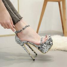 Sexy Women Ankle Strap Platform Peep toe Stilettos High Heel Stage Party Shoes