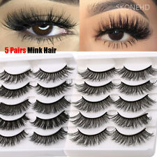 SKONHED 5 Pairs 3D Faux Mink Hair False Eyelashes Fluffy Wispy Eye Extension