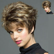 Women Blonde Mixed Brown Wigs Pixie Cut Curly Wavy Synthetic Full Wig with Bangs