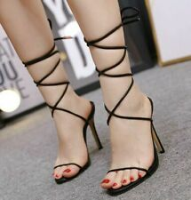 Sexy Womens Ladies Cross Strappy Lace Up High Heels Open Toe Sandals Party Shoes