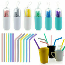 Reusable Silicone Drinking Straws Food Grade Straw with Cleaning Brushes Set