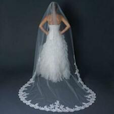 Cathedral 3M Bridal veil White/Ivory Lace Applique Wedding Veils with Comb