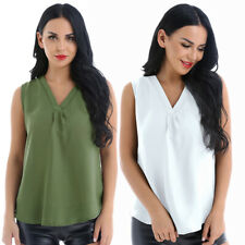 Women Solid Color Casual Loose Chiffon Daily Sexy V Neck Shirt Blouse Tops Tanks