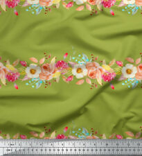 Soimoi Fabric Leaves & Rose Floral Printed Craft Fabric by the Yard - FL-814D