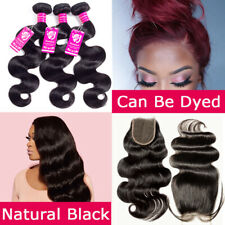 Full Head Brazilian Virgin Human Hair Body Wave3Bundles with Closure Black THICK