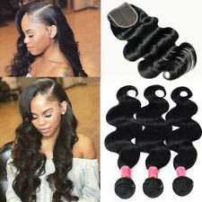 FULL Brazilian Virgin Human Hair Body Wave/Straight 3 Bundles with Closure THICK