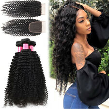 Curly Hair3 Bundle With 4*4 Lace Closure Brazilian Virgin Human Hair SKIN WEFT