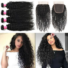 Curly Hair 400G 4 Bundle With Lace Closure Brazilian Virgin Human Hair SKIN WEFT