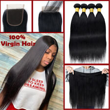 8-30inch 4 Bundles and Closure Unprocessed Brazilian Virgin Human Hair THICK US