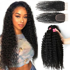 100% Virgin Brazilian Hair Curly Weave Human Hair 3 Bundles with Closure THICK