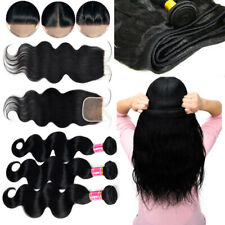8-30inch 3 Bundles with Closure Brazilian Indian Virgin Human Hair Body Wave US
