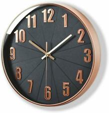 Rose Gold Wall Clock, Silent Non Ticking - 12 Inch Quality Quartz Battery Round