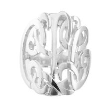 "Mono dmR Sterling Silver 0.78"" medium 3 Initials on Double Layer Monogram R"