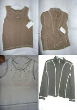New~Ladies Small Brown-Off White Shirt matching Jacket