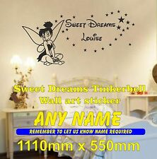 Sweet Dreams Tinkerbell Girls Bedroom personalised wall art Sticker decal