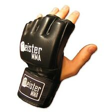 MEISTER BLACK 4OZ ULTIMATE MMA GLOVES - LEATHER OPEN PALM UFC - PRO FIGHT LEGAL