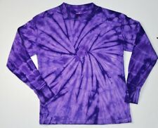 PURPLE LONG SLEEVE TIE DYE T-SHIRTS YOUTH - ADULT 3XL
