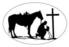 PRAYING COWBOY static cling etched glass window decal