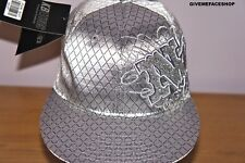 NY FITTED CAP, SILVER GLITZ, FLAT PEAK HAT HIP HOP