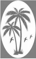 PALM TREE static cling etched glass window decal