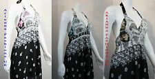 NEW LADIES WOMEN LONG HALTERNECK MAXI DRESS FLORAL PRINT