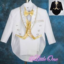 5Pcs Formal Tuxedo Suit Vest Wedding Pageboy Party Christening Baby 6-24m ST015
