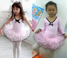 Girl Party Long Sleeve Leotard Pink Ballet Dance Tutu Costume Fairy Dress 3-8Y
