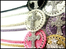 RHINESTONE CRYSTAL BLING GOTHIC CROSS SILVER BRAIDED CHAIN THIN HIP BELT