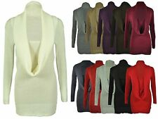 NEW LADIES KNITTED COWL NECK JUMPER WOMENS STRETCH LONG SLEEVED TOP SIZE 8 - 14