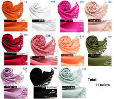 Pashmina Women Solid Scarf Scarve Wrap Cashmere Shawl as xmas gift -11 colors