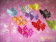 One Pair Polka-dot DOG Hairbows double PRO-GROOM bands