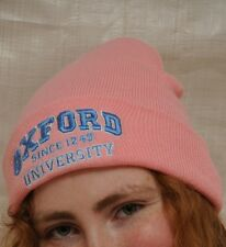 Baby Pink Oxford University Ski hat Beanie Winter Wear I Love London Christ cap