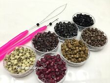 250 Silicone Micro Rings / Feather Hair Extension Beads / Crimp beads LOOP HOOK