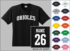 Orioles College Letters Custom Name & Number Personalized Baseball T-shirt