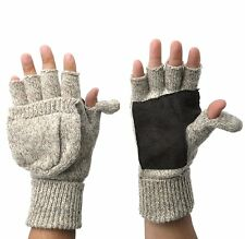Mens Thermal Insulation Knit Fingerless Mitten Winter Gloves W/ Thumb Flap