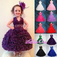 Embossed Flower Girl Halter Dress Wedding Pageant Party Child Size 2T-10 FG148