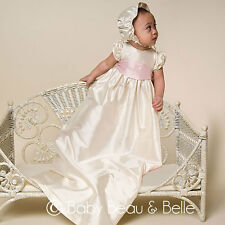 "Baby Beau & Belle ""Jenna"" girls silk Christening and Baptism Gown"