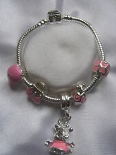 CHILDRENS/KIDS/BABY PINK PEPPA PIG CHARM BRACELET SILVER PLATED GIFT BAG
