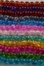 100 Pieces 8mm Crackle Glass Beads - Colour Choice